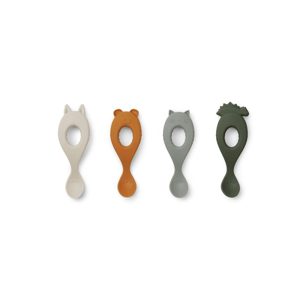 Liewood Silicone Spoon 4 Pack - Hunter Green Mix - Dapper Mr Bear - www.dappermrbear.com -NZ