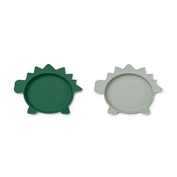 Liewood Olivia Plate - 2 Pack - Dino Green/Dove Blue Mix - Dapper Mr Bear - www.dappermrbear.com - NZ