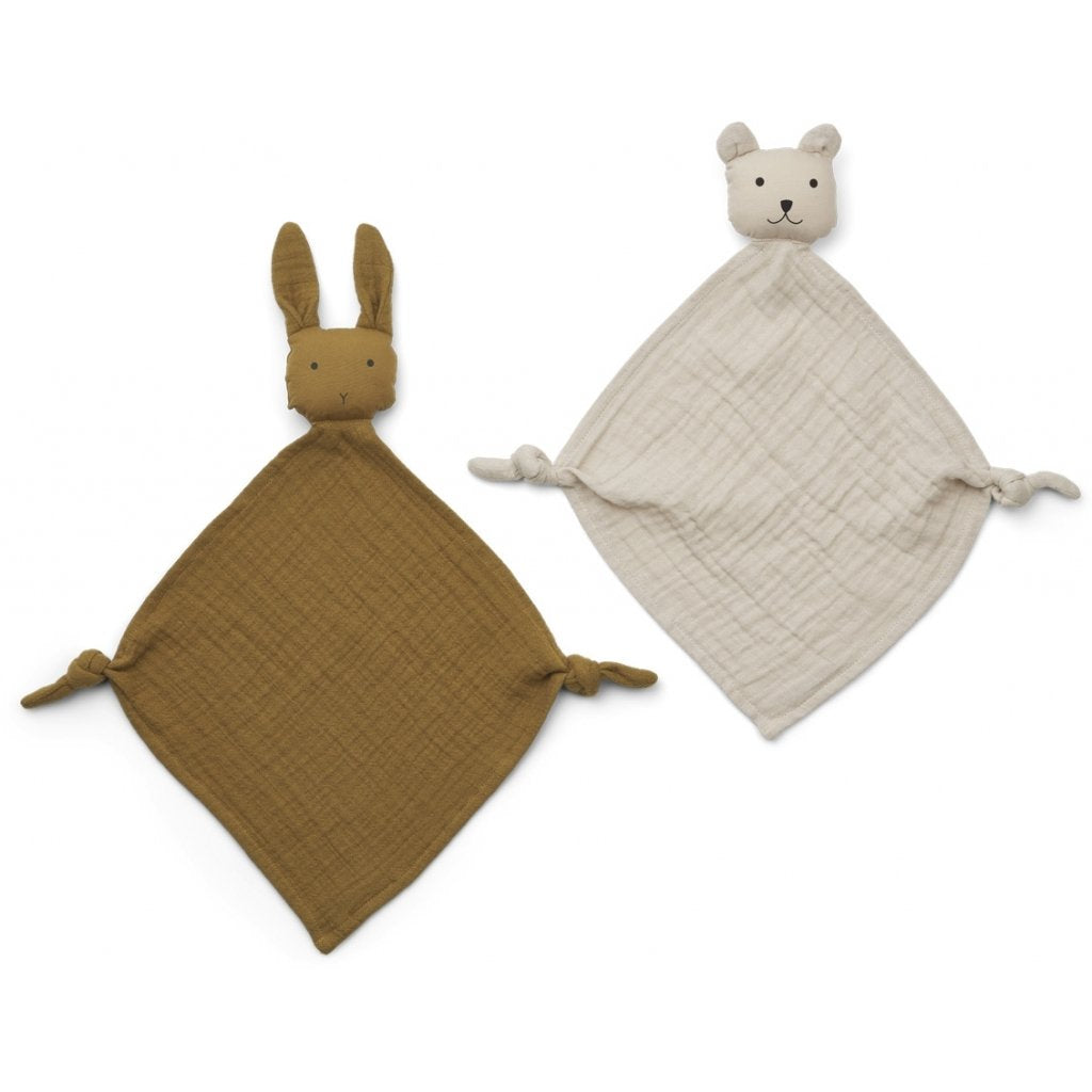 Liewood - Yoko Mini Cuddle Cloth 2 Pack - Olive Green Sandy Mix - Dapper Mr Bear - www.dappermrbear.com - NZ