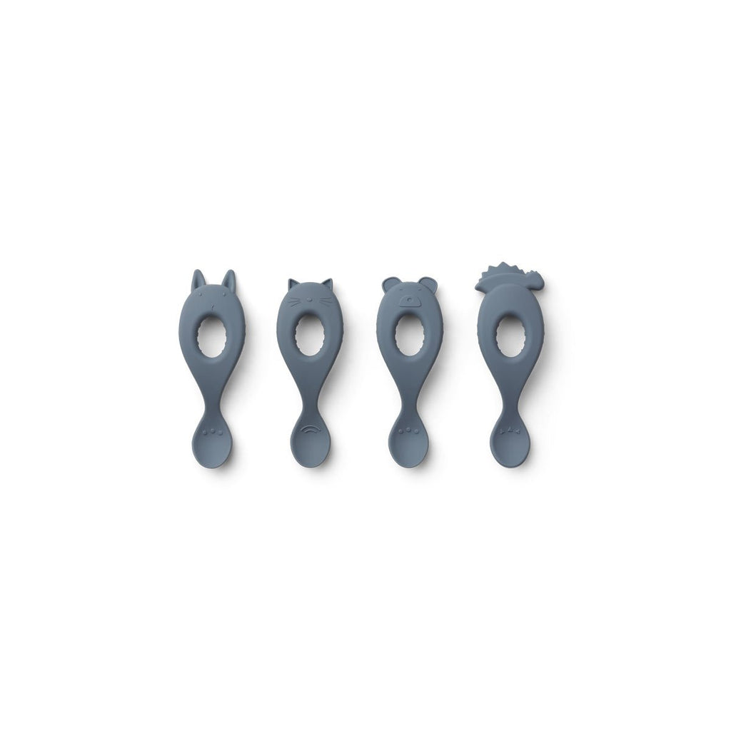 Liewood Silicone Spoon 4 Pack - Blue Wave