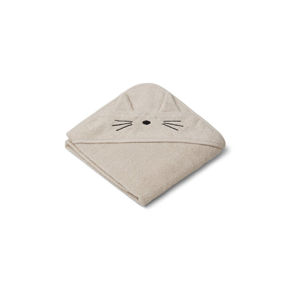 Liewood Albert Baby Hooded Towel - Sandy Cat - Dapper Mr Bear - www.dappermrbear.com - NZ