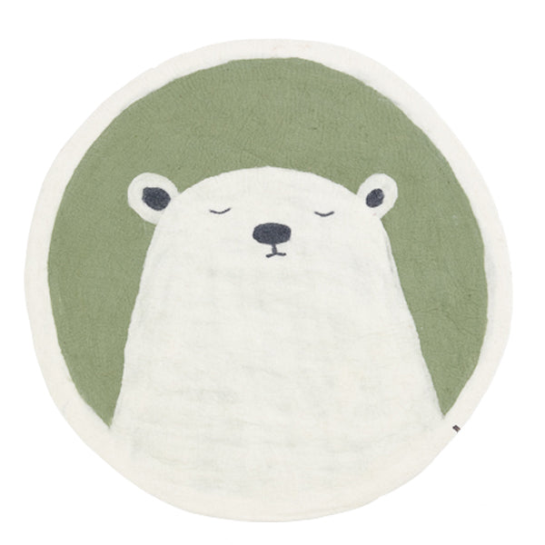 Muskhane Grizzly Pasu Felt Rug - Tender Green - Dapper Mr Bear - www.dappermrbear.com - NZ