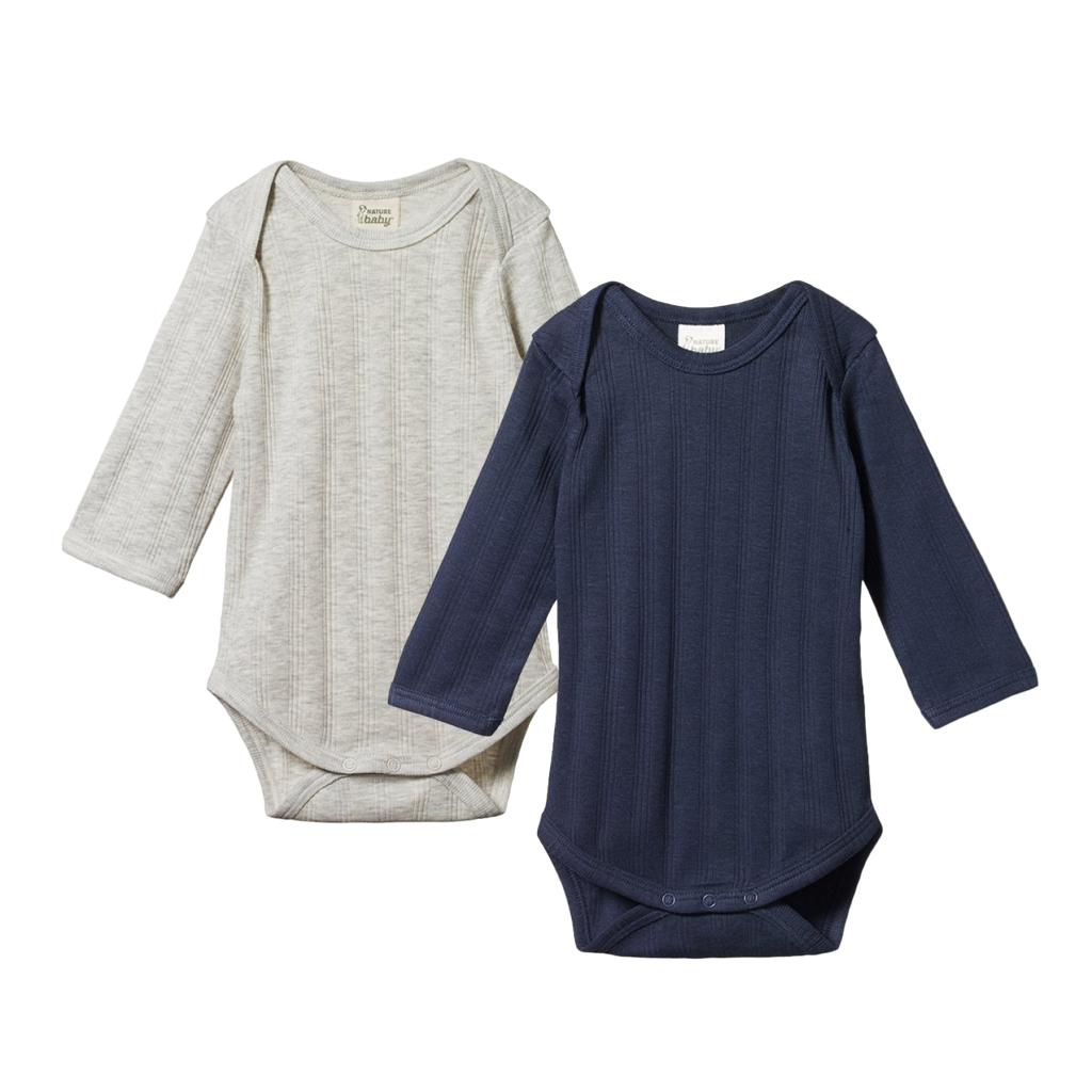 Nature Baby 2 Pack Derby Bodysuit - Navy + Grey Marl - Dapper Mr Bear - www.dappermrbear.com - NZ