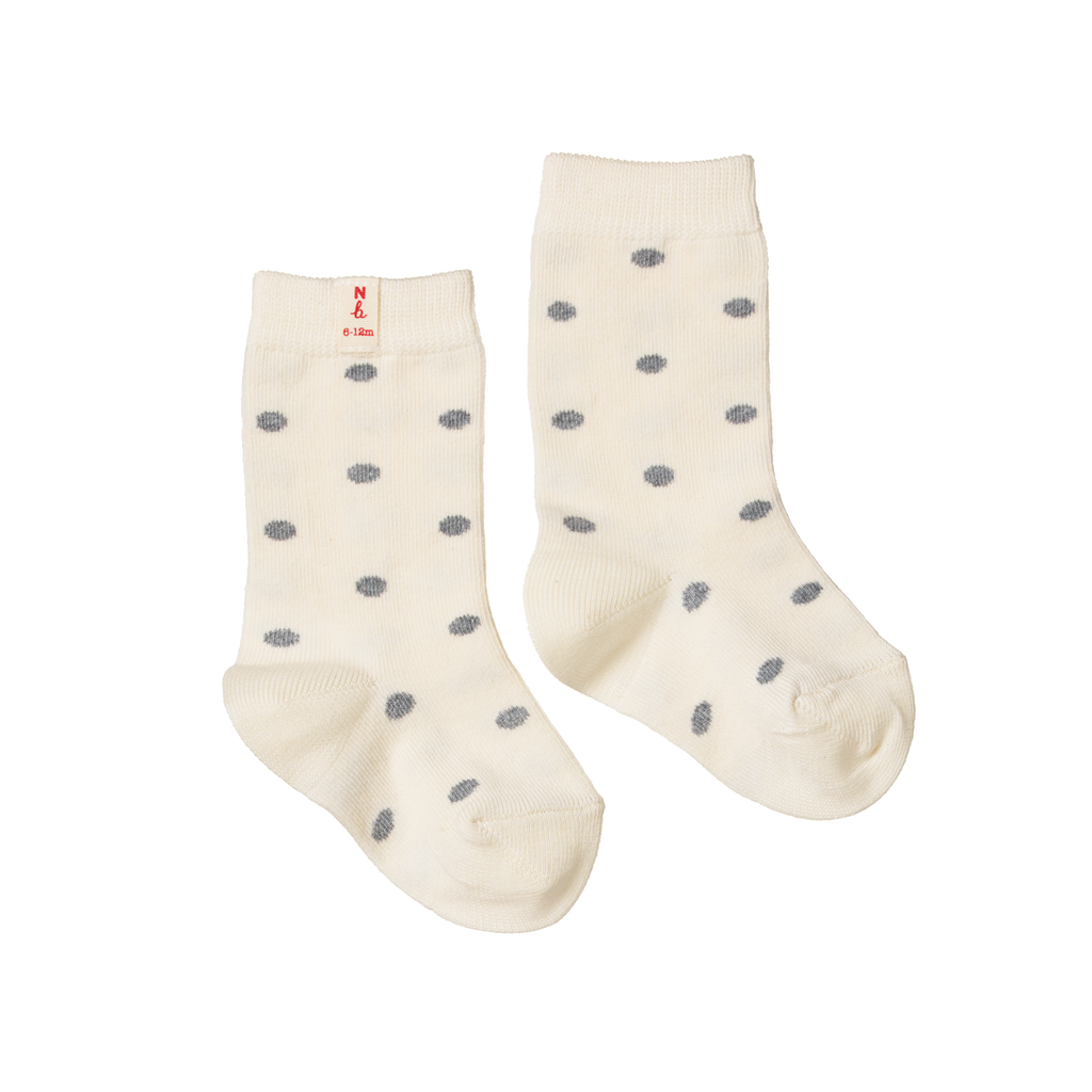 Nature Baby Organic Cotton Socks - Grey Polka Dot - Dapper Mr bear - www.dappermrbear.com - nZ