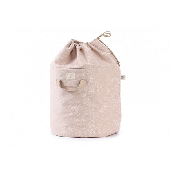 Nobodinoz - Bamboo Toy Bag - Bubble Misty Pink - www.dappermrbear.com - NZ