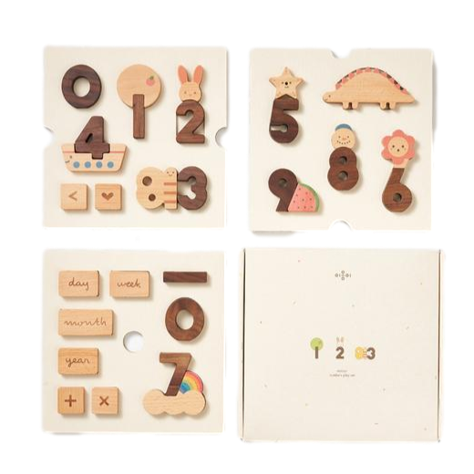 Oioiooi Wooden Number Play Blocks - Dapper Mr Bear - www.dappermrbear.com - NZ