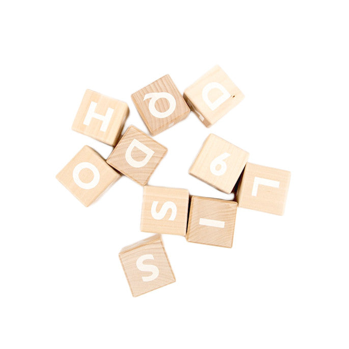 Wooden Alphabet Blocks - White, Ooh Noo