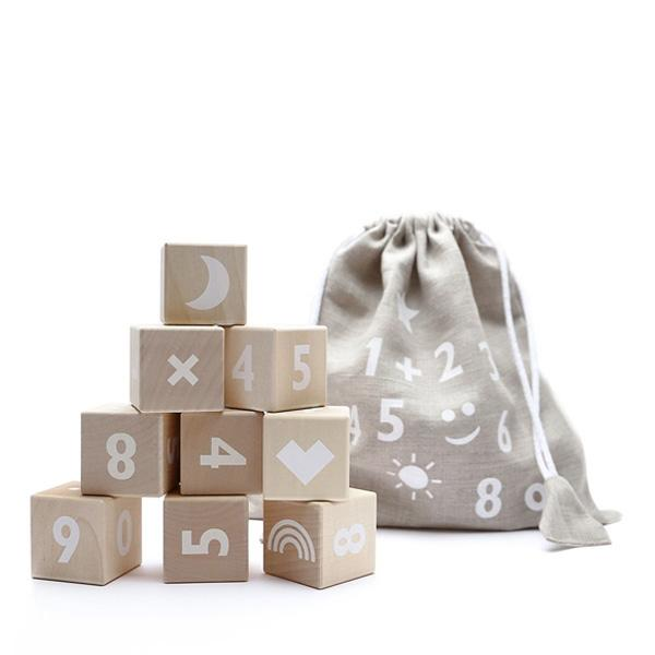 Ooh Noo Wooden Number Blocks - White - Dapper Mr Bear - www.dappermrbear.com - NZ