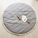 Over The Dandelions Linen Baby Mat - Stone