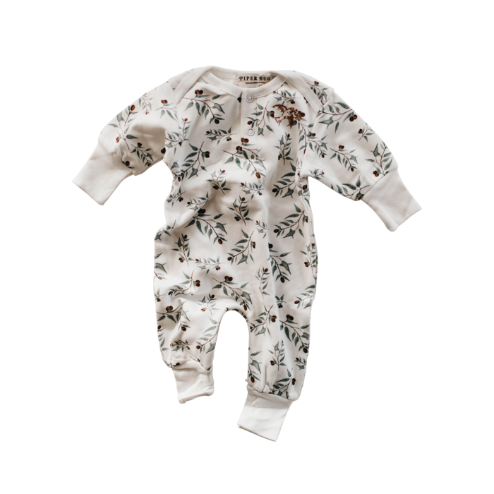Piper Bug Long Sleeve Romper - Ray Olive Print - Dapper Mr bear - www.dappermrbear.com - NZ