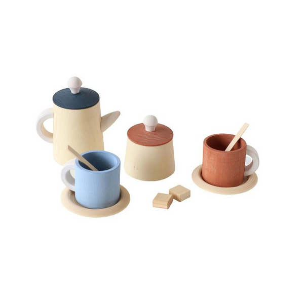 Raduga Grez - Wooden Tea Set - Terracotta and Blue - Dapper Mr Bear - www.dappermrbear.com - NZ