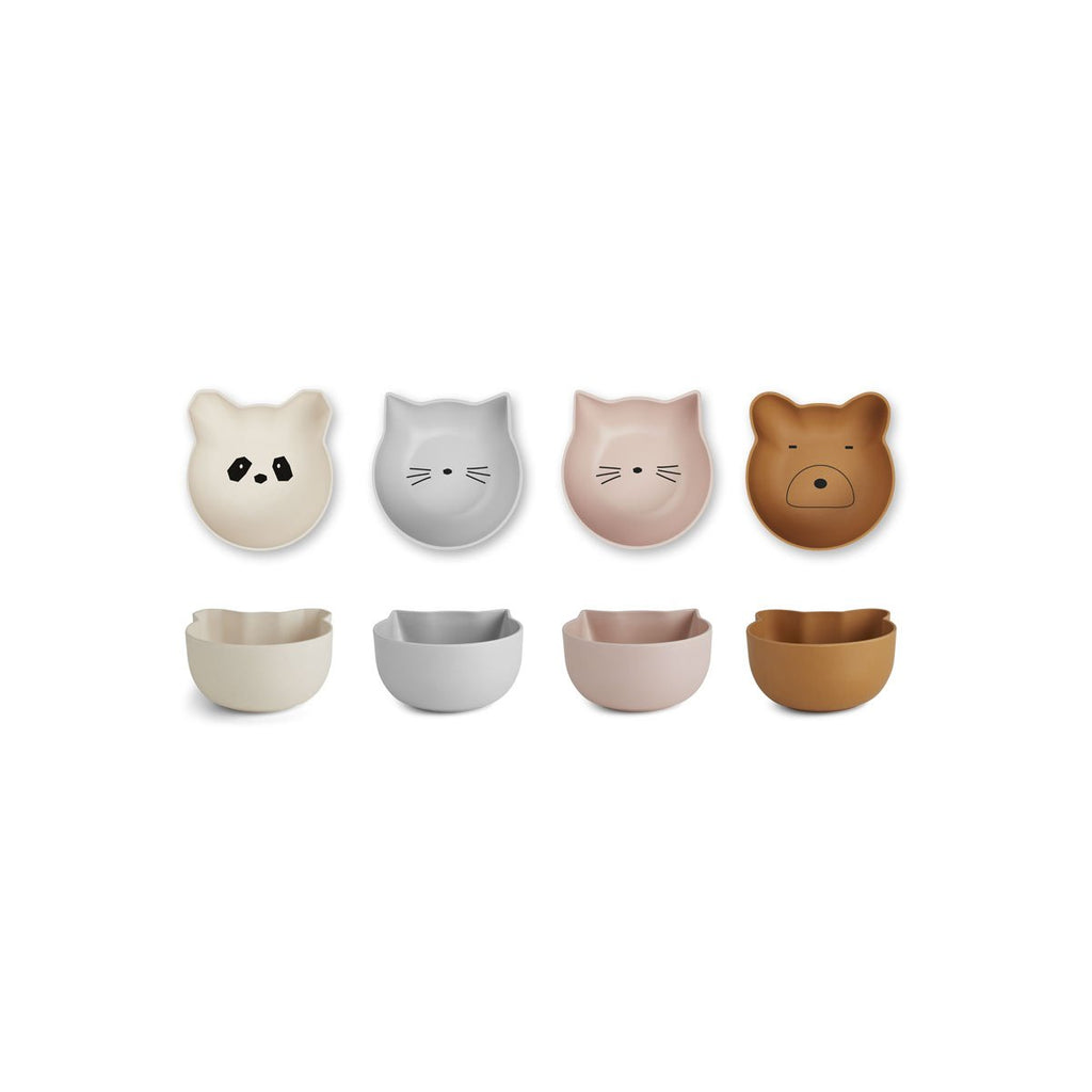 Liewood Rex Snack Bowl 4 pack - Rose Mix - Dapper Mr Bear - www.dappermrbear.com - NZ