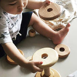 Natural Wooden Round Stacker, Wooden Story | Dapper Mr Bear