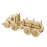 Wooden Truck with Trailer + Logs