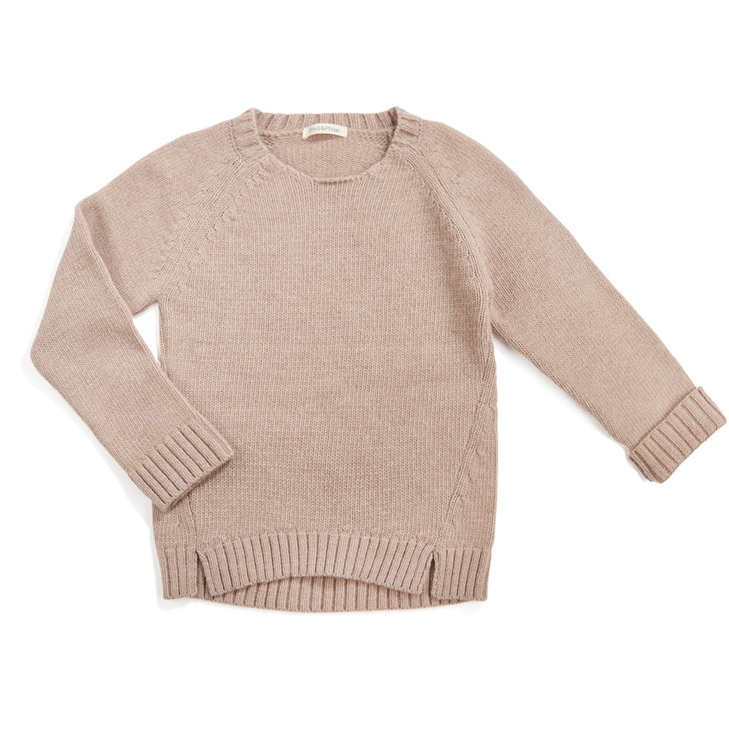 Phil and Phae Woolmix knit sweater - Oatmeal Melange (6Y last one!)