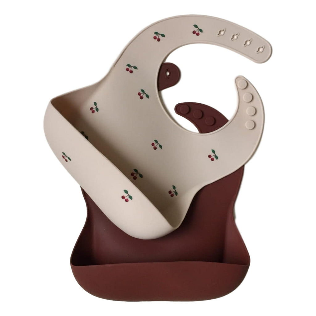 Konges Sløjd Bib - 2 Pack Silicone Baby Bib - Cherry/Mocca - Dapper Mr Bear - www.dappermrbear.com - NZ