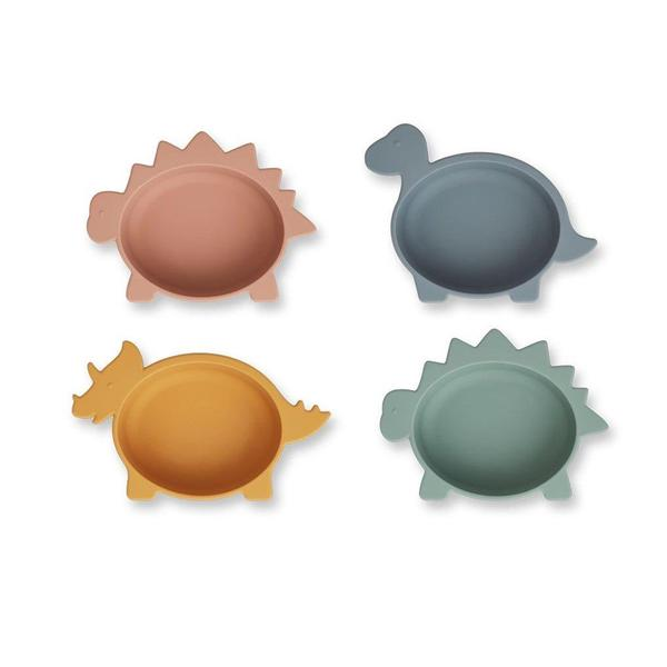 Liewood Iggy Silicone Bowls - 4 Pack - Dino Multi Mix - Dapper Mr bear - www.dappermrbear.com - NZ