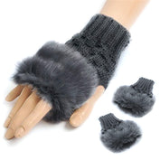 Knitted Fur Fingerless Mitten Gloves