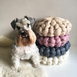 Hand Knitted Knotted Ball Pillow