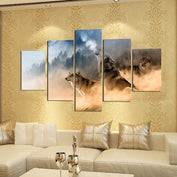 5 Piece Canvas Art - Wolves In The Mountain