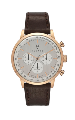Grande Chrono Silver Rose Gold Veau Brown