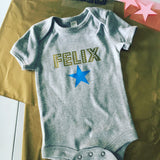 Personalised New Baby Bodysuit Gold Spotty with Star/Heart