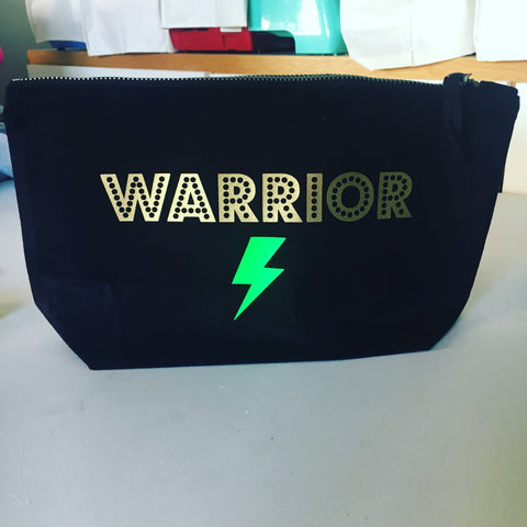 Warrior Lightening Bolt Makeup Bag - Medium Sized