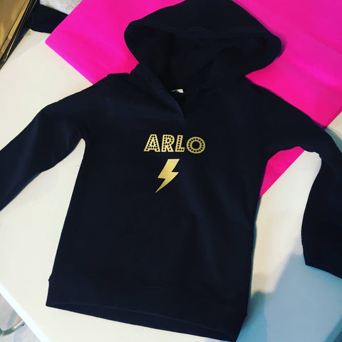 Kid's Personalised Hoodie with Bolt