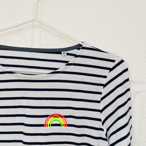 Embroidered MULTI NEON RAINBOW Breton Stripe long sleeve t shirt