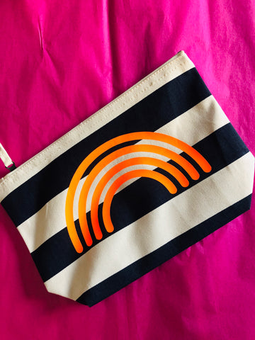 Stripe/Plain printed beach pouch