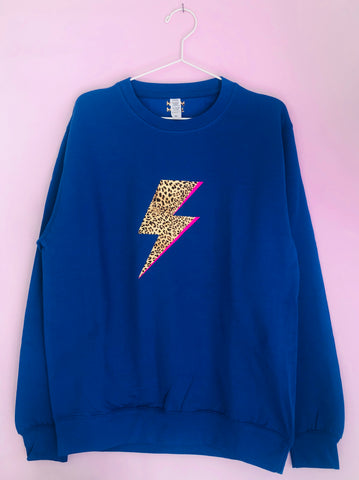 BRIGHTS LEOPARD BOLT sweatshirt with Neon Flash