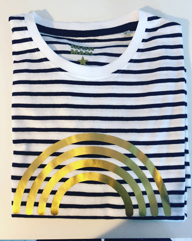 Striped crew neck t shirt with Gold RAINBOW