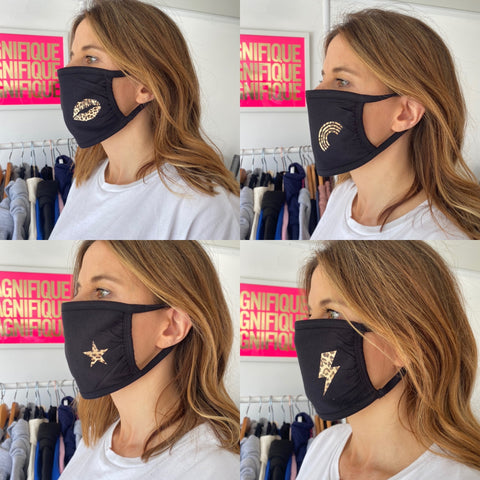 Black Neon Marl face covering mask