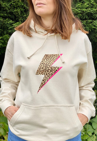 LEOPARD BOLT FLASH lightweight hoodie