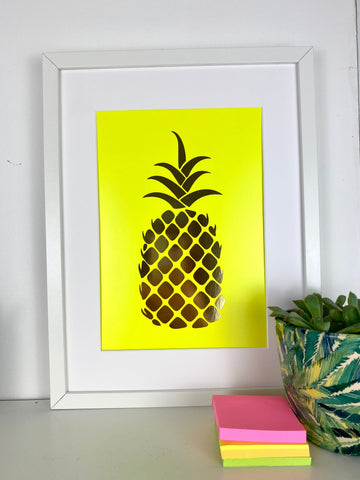 Neon Marl Neon yellow/ Gold foil PINEAPPLE A4 print