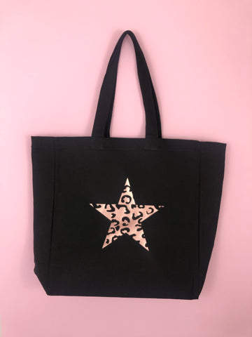 LEOPARD STAR heavyweight tote bag