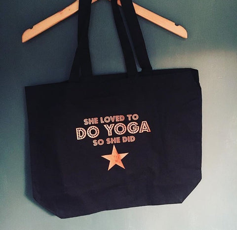 She loved to DO YOGA tote bag
