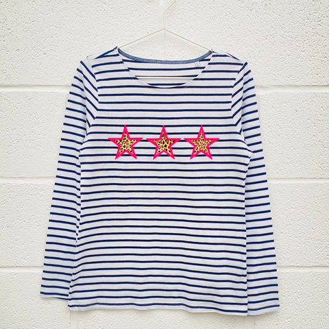STAR FLASH Breton Stripe long sleeve t shirt
