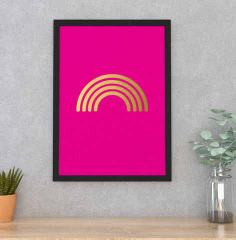 Neon pink/Gold RAINBOW A3 framed print