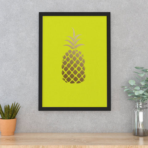 Neon yellow/Gold PINEAPPLE A3 framed print