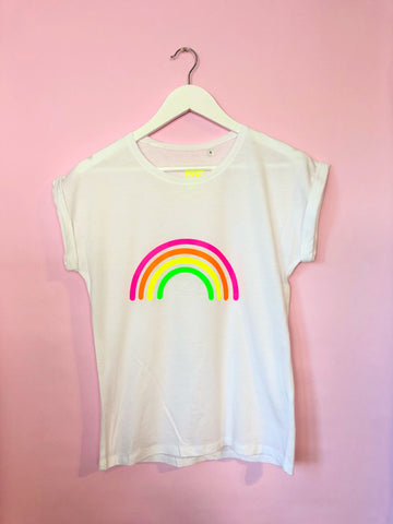 Ladies MULTI NEON RAINBOW t shirt