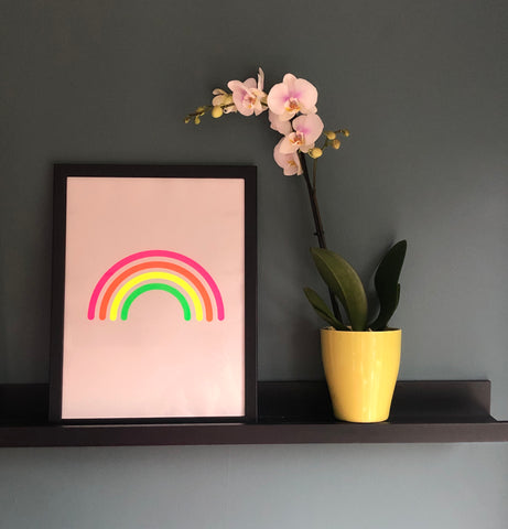 Grey/Multi Neon RAINBOW A3 framed print
