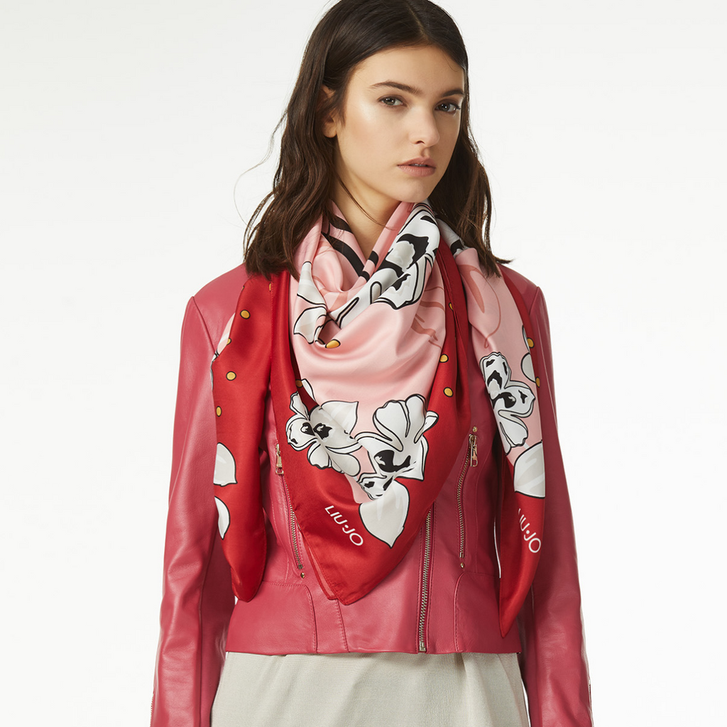LIU JO  'Flowers' Scarf RED