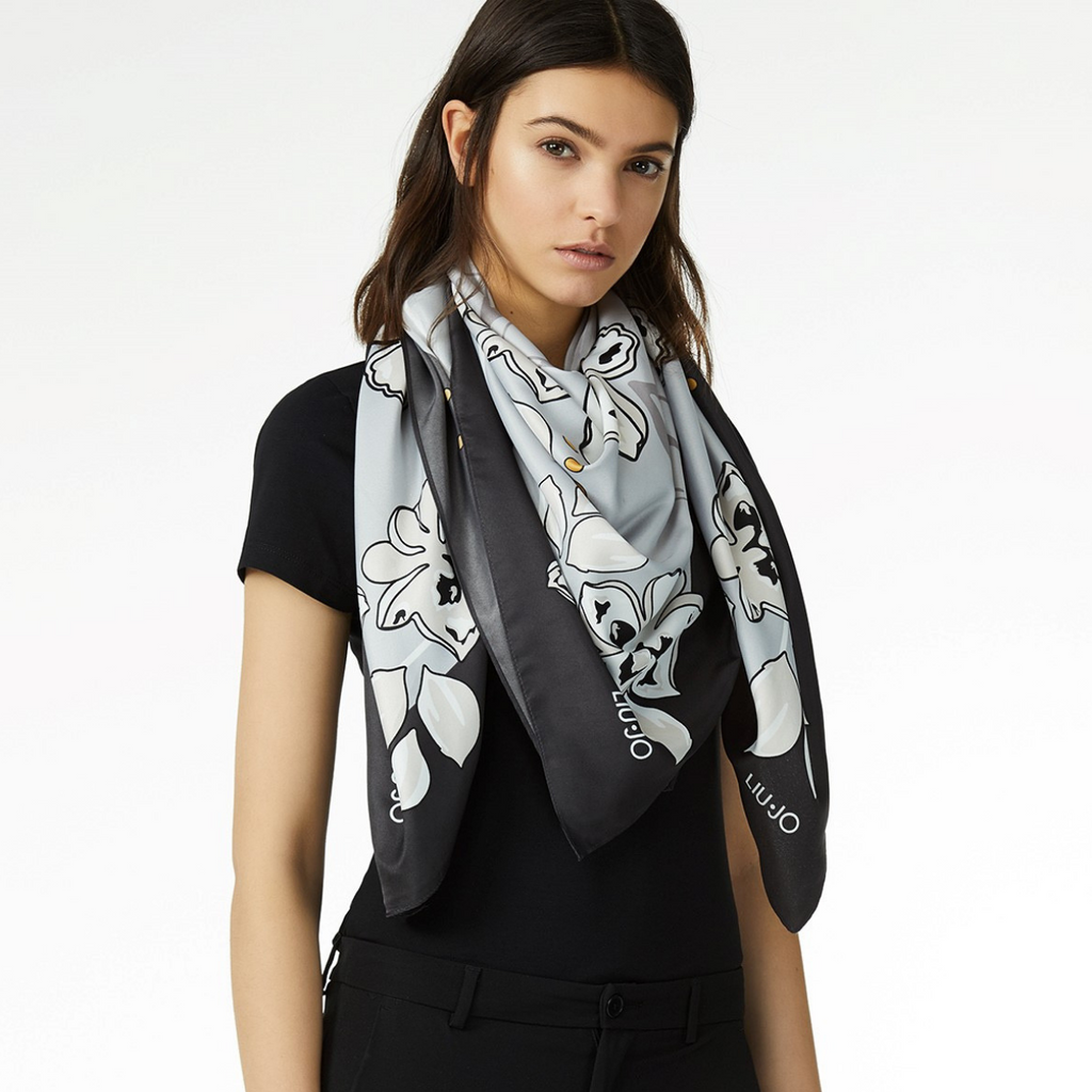LIU JO  'Flowers' Scarf BLACK
