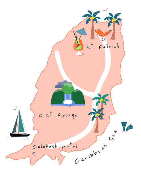 Bottega Boutique at Calabash Grenada Map Illustration
