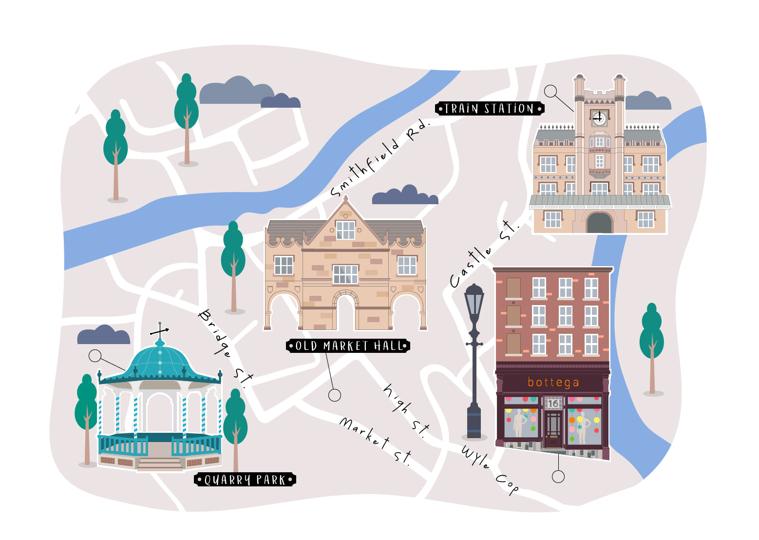 Bottega Shrewsbury Street Map Illustration