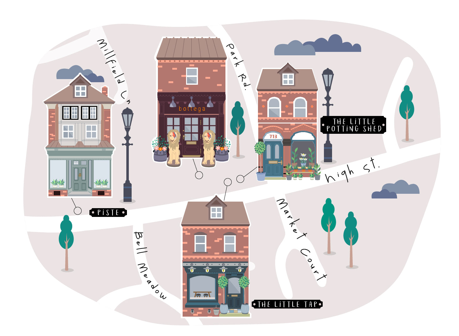 Bottega Tarporley Street Map Illustration