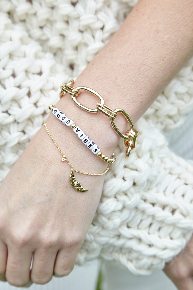GOOD VIBES White Letter Gold Filled Bracelets