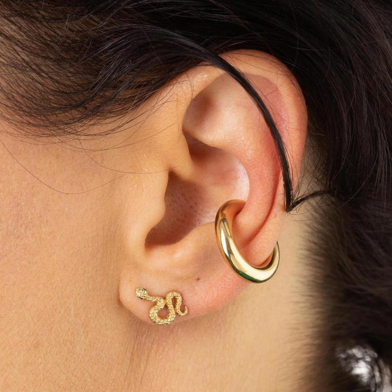 Snake Stud Earrings with Green Eyes
