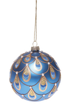 Peacock Glass Bauble Blue or Silver